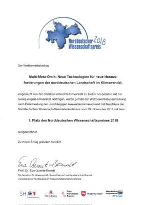 Urkunde Wissenschaftspreis